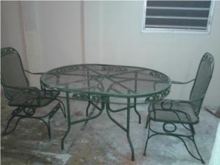 Mesa metal patio 4 sillas, Puerto Rico