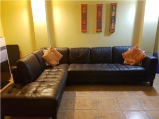 Excelente Sofa en Cuero y Roble - Mudanza, Puerto Rico