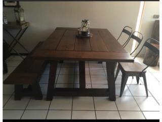 mesa de patio hecha con madera de pino, Puerto Rico
