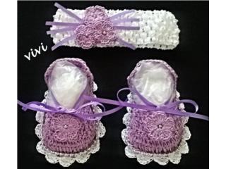 sandalias y cinta tejido de nena, violeta, Puerto Rico