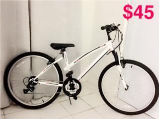 Bicicleta Huffy (blanca, negra y rosa), Puerto Rico