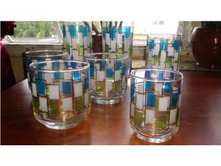 Set de vasos antiguos Libbey de 1950-60, Puerto Rico