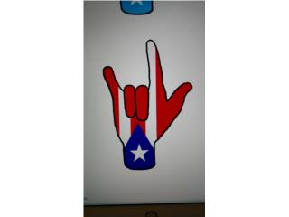 Stickers de PR manita símbolo te amo 3.50 c/u, Puerto Rico