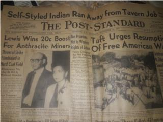 Periódico 1952 The Post - Standard, Puerto Rico