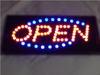 Letrero de OPEN en LED , Puerto Rico