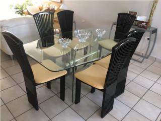 Juego de comedor 6 sillas tope cristal 375, Puerto Rico