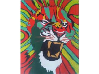 Leon en Colores $125 Obra de Arte Enmarcada, Puerto Rico