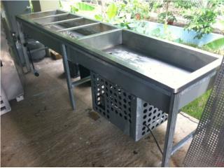 Steam table de gas , salad bar refrigerado, Puerto Rico