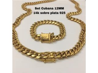 Set cubana 12mm 14K SOBRE PLATA 925, Puerto Rico