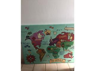 Cuadro mapa del mundo 36alto x 46largo, Puerto Rico