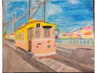 Cuadro original ''trolley paseando'', Puerto Rico