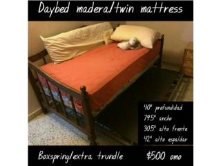 Daybed twin madera con matress/boxspring/trundle, Puerto Rico