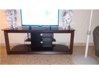 Mesa de televisor cristal y madera, Puerto Rico