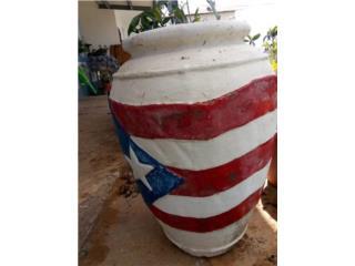 Tiesto 3 pies motivo P.R. y flores, Puerto Rico