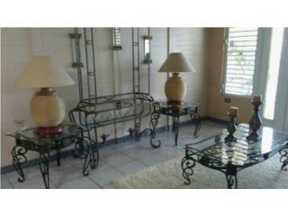 3 Mesas de sala en hierro y cristal, Puerto Rico