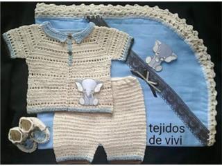 Set completo tejido de varon, crema, Puerto Rico