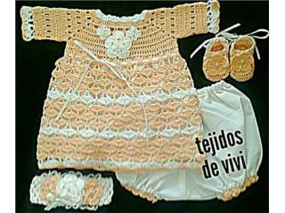 Traje tejido de nena, peach, Puerto Rico