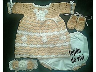 Set tejido de nena,  peach , Puerto Rico