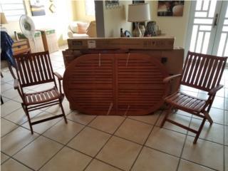 Mesa de patio, sombrilla y 2 sillas, todo nue, Puerto Rico