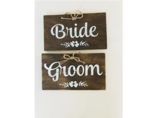Letrero de Bride & Groom rústico en madera , Puerto Rico
