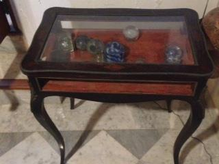 Antique glass top vitrine for collectibles, Puerto Rico