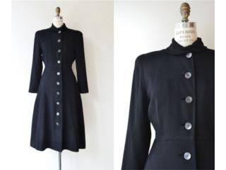 wool coat   vintage 50s princess coat   black, Puerto Rico