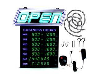 LED Open Sign con Horas De Operacion! $350, Puerto Rico