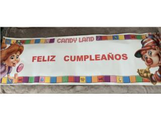 Banner de cumpleaños con motivo de Candy Land, Puerto Rico