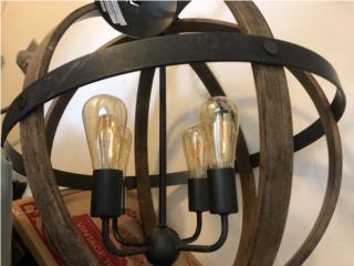 Lámpara rústica en madera y metal 4 luces, Puerto Rico