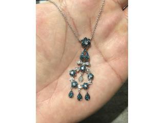 Cadena FANCY 14k con Diamantes blancos y azules , Puerto Rico