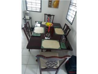 Juego de comedor 4 sillas, mesa cristalizada, Puerto Rico