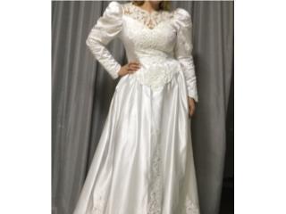 Traje de novia blanco mangas cola 14, Puerto Rico