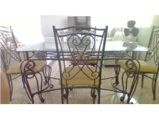 mesa de comedor en acero con cristal 4 sillas, Puerto Rico