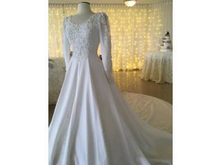 Bello traje de novia blanco, mangas, cola 0/2, Puerto Rico