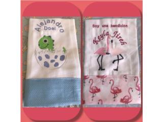 Pañitos de bebé bordados personalizados , Puerto Rico