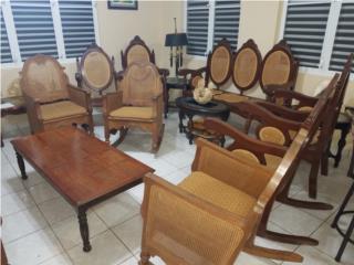 Juego de sala antiguo pajilla y caoba 6 piezas, Puerto Rico