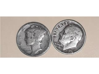 Monedas antiguas america año 1940 y 1956 en $50, Puerto Rico