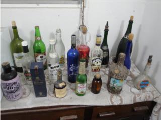 18 Botellas Antiguas en Cristal, Puerto Rico
