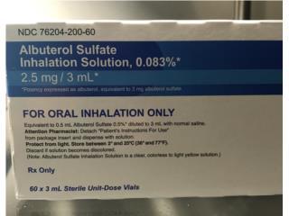 Albuterol sulfate 2.5 / 3 ml, Puerto Rico