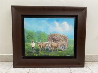 Pintura de Campesino con Bueyes y Carreta en $400, Puerto Rico