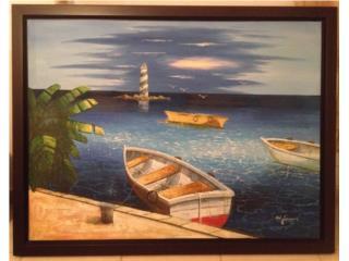 Cuadro Pintado Motivo Maritimo, Puerto Rico