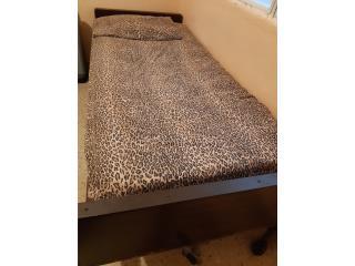 Cama twin metal posición con mattress, Puerto Rico