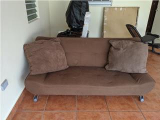 Futón brown oscuro, sólo $40, con cojines $50, Puerto Rico