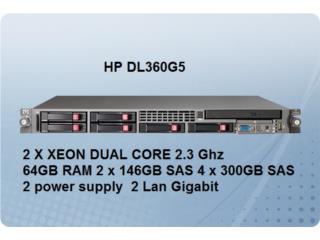 HP Server Doble procesador Xeon 64gb RAM con 6 HDD, Puerto Rico