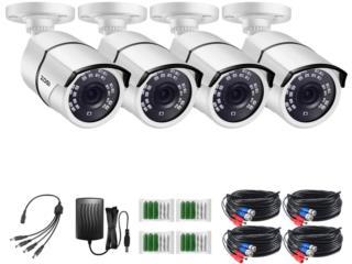 Camaras de Seguridad Marca ZOSI Paquete de 4 1080p, Puerto Rico