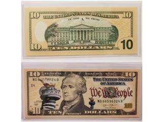BILLETE DE $10.00 CONMEMORATIVO DE COLECCION, Puerto Rico
