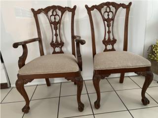 6 sillas modelo Chippendale lado de garra, Puerto Rico
