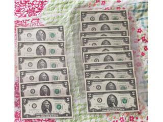 16 BILLETES DE $2.00 SERIE CONTINUA , Puerto Rico