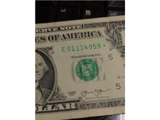 billete de 1 con estrella y error en 1 y tint, Puerto Rico
