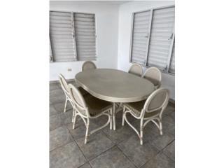 Juego de comedor con 6 sillas,blanco, Rattan?, Puerto Rico